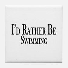 Rather Be Swimming Tile Coaster