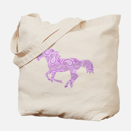 Purple Paisley Horse Tote Bag