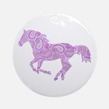 Purple Paisley Horse Ornament (Round)