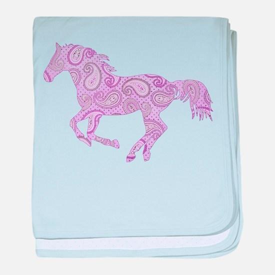 Purple Paisley Horse baby blanket