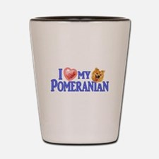 Pomeranian Bumpersticker Shot Glass