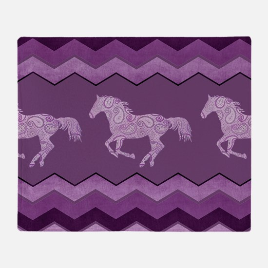 Purple Paisley Horse Throw Blanket