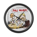 Putin And Obama Poker Large Wall Clock