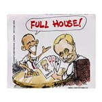 Putin And Obama Poker Throw Blanket