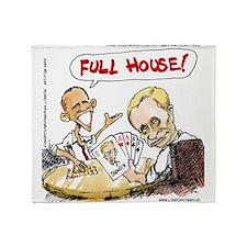 Putin And Obama Poker Throw Blanket