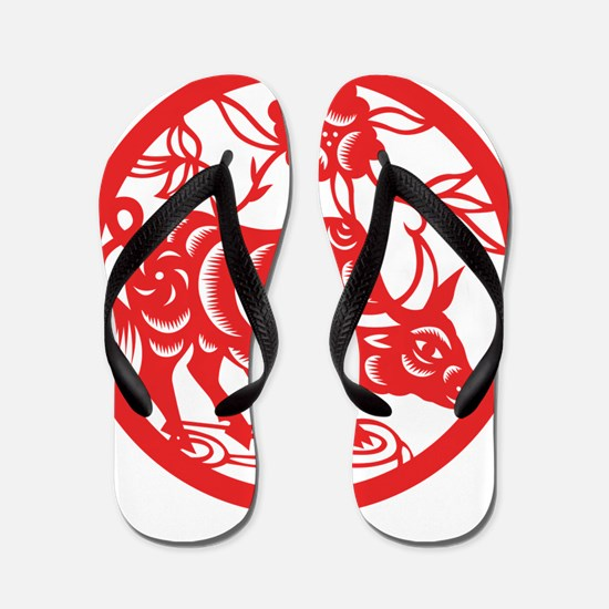 Zodiac, Year of the Ox Flip Flops