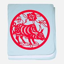 Zodiac, Year of the Ox baby blanket