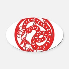 Zodiac, Year of the Snake Oval Car Magnet