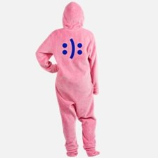 BIPOLAR-SMILEY-fut-blue Footed Pajamas