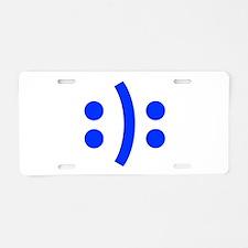 BIPOLAR-SMILEY-fut-blue Aluminum License Plate