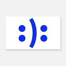 BIPOLAR-SMILEY-fut-blue Rectangle Car Magnet