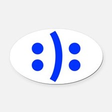 BIPOLAR-SMILEY-fut-blue Oval Car Magnet