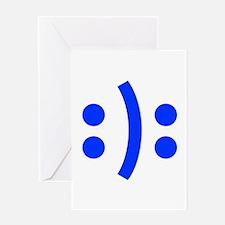 BIPOLAR-SMILEY-fut-blue Greeting Cards