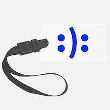BIPOLAR-SMILEY-fut-blue Luggage Tag