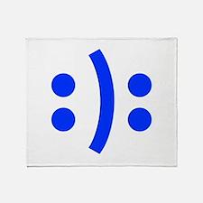 BIPOLAR-SMILEY-fut-blue Throw Blanket