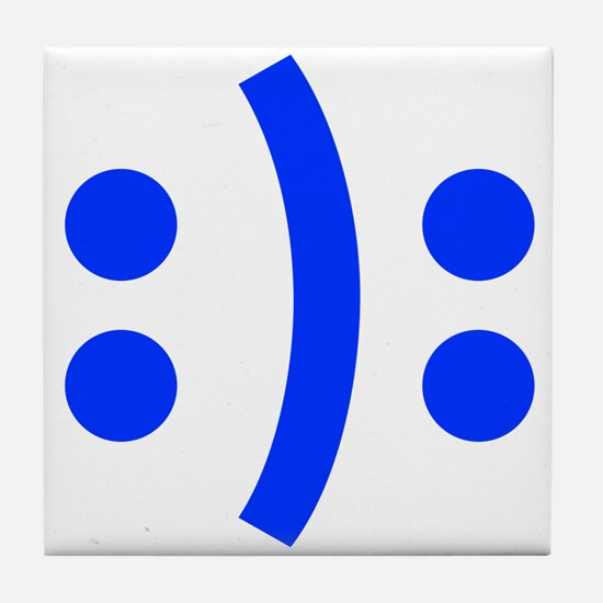 BIPOLAR-SMILEY-fut-blue Tile Coaster