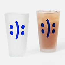 BIPOLAR-SMILEY-fut-blue Drinking Glass