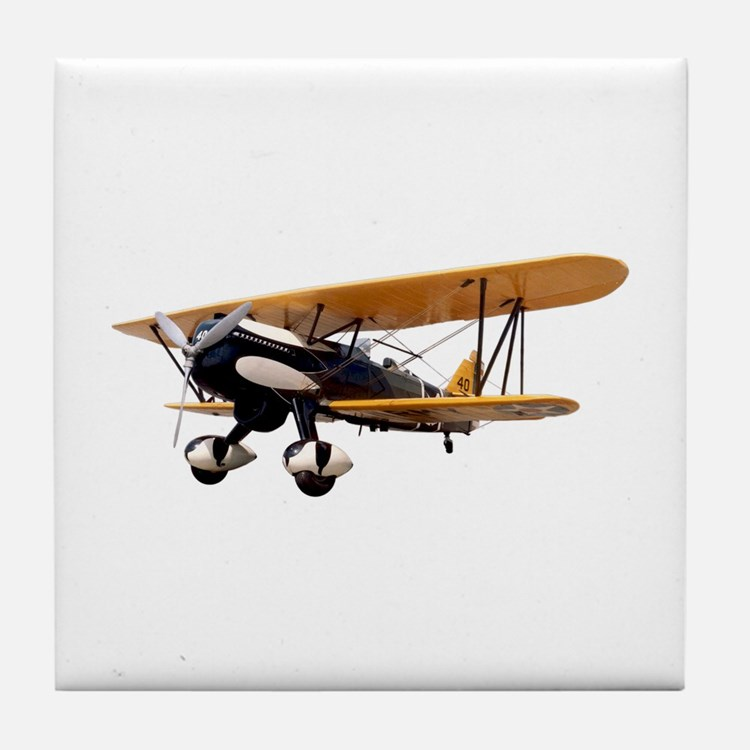 P-6 Hawk Biplane Aircraft Tile Coaster