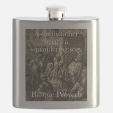 A Thrifty Father - Basque Proverb Flask