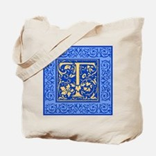 Ornate Blue and Gold Letter T Tote Bag