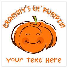 Grammy's Little Pumpkin Personalized Wall Art Poster