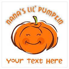 Nana's Little Pumpkin Personalized Wall Art Poster