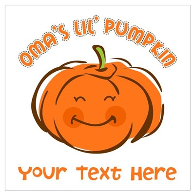 Oma's Little Pumpkin Personalized Wall Art Poster