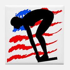 USA SWIMMER Tile Coaster