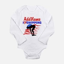 SWIMMER GIRL Long Sleeve Infant Bodysuit