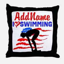 SWIMMER GIRL Throw Pillow