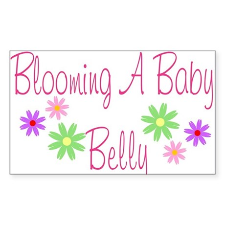 Blooming a Baby Belly Rectangle Sticker