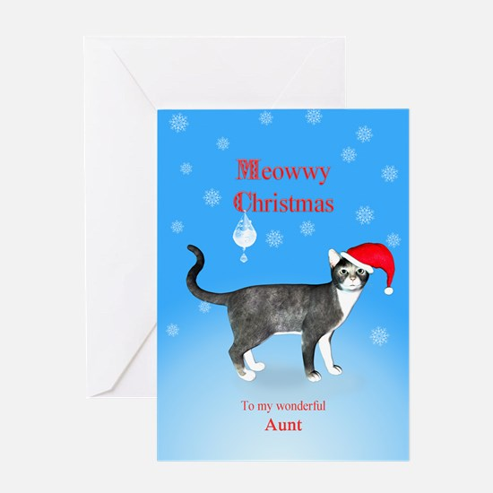For aunt, Meowwy Christmas cat Greeting Cards