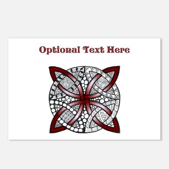 Personalizable Maroon Decorative Celtic Knot Postc