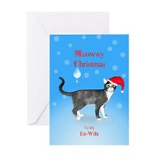 For ex-wife, Meowwy Christmas cat Greeting Cards