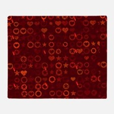 Red Stars and Hearts Woven Blanket Throw Blanket