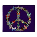 Butterfly peace sign Fleece Blankets