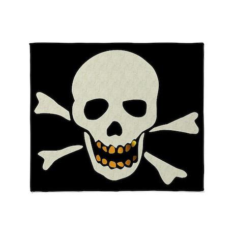 Skull With Gold Teeth Throw Blanket By Ursinelogic