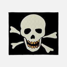 Skull With Gold Teeth Throw Blanket