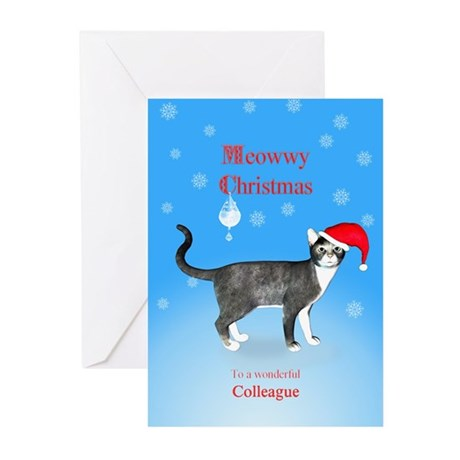 For colleague, Meowwy Christmas cat Greeting Cards