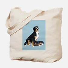 Swissie Mom and Pup in Blue Tote Bag
