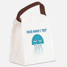 Custom Light Blue Jellyfish Canvas Lunch Bag