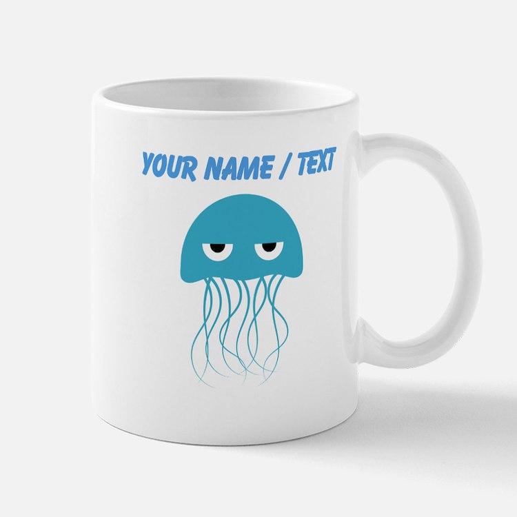 Custom Light Blue Jellyfish Mugs