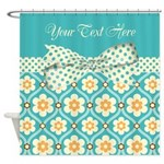 Personalized Turquoise Polka Dot Floral Shower Cur