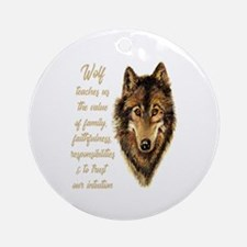 Wolf Totem Animal Spirit Guide for Round Ornament