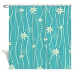 Turquoise Dot Floral Stripe Shower Curtain