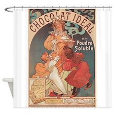 Chocolat Ideal, Mucha, Vintage Poster Shower Curta