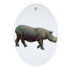 sumatran rhino Oval Ornament