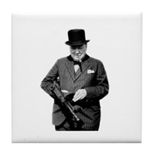 Churchill's Tommy Gun Tile Coaster