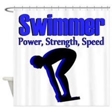 NUMBER 1 SWIMMER Shower Curtain
