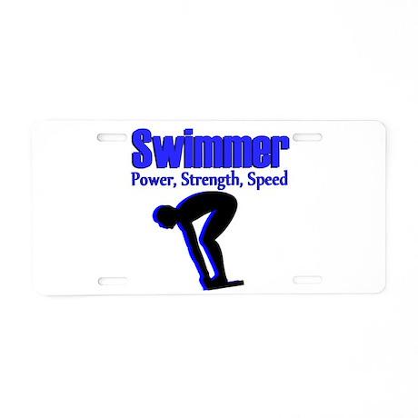 number 1 swimmer aluminum license plate by sportsstar. Black Bedroom Furniture Sets. Home Design Ideas